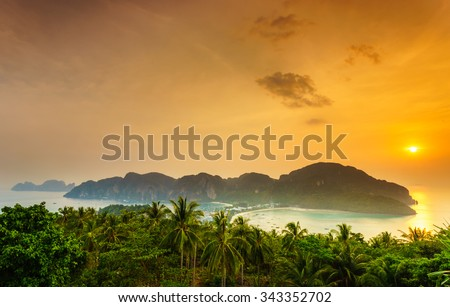 Phi phi island at sunset, Southern of Thailand