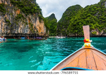 Phi Phi island fantastic blue water from the boat - Shutterstock ID 796589755