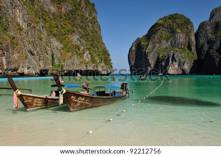 "PHI PHI ISLANDS, THAILAND – FEBRUARY 23: The Gate to Maya Bay on February 23, 2009 in Thailand. Maya Bay is famous since ""The Beach"", a movie starring Leonardo Di Caprio, was shot at this location."