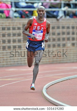 PHILADELPHIA - APRIL 28: Bernard Lagat from Team USA runs the anchor leg of the USA vs the World distance Medley at the Penn Relays April 28, 2012 in Philadelphia.