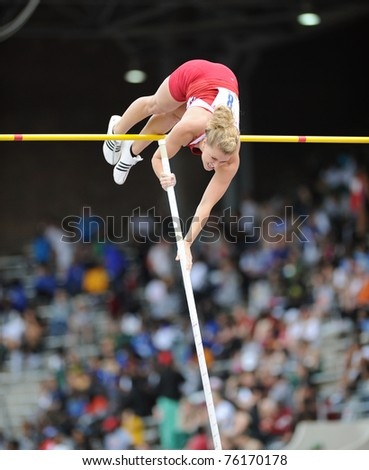 PHILADELPHIA - APRIL 28: Indiana University pole vaulter Kelsie Aheb flies over the bar en route to a second place finish at the 2011 Penn Relay April 28, 2011 in Philadelphia, PA