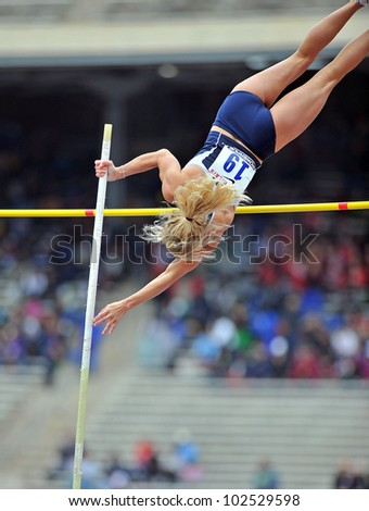PHILADELPHIA - APRIL 26: Jocelyn Witmer from Penn State heads over the bar in the ladies pole vault at the Penn Relays April 26, 2012 in Philadelphia.