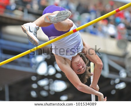 PHILADELPHIA - APRIL 28: Sean Daugherty from Lake Braddock HS competes in the boys high school pole vault championship at the Penn Relays April 28, 2012 in Philadelphia.