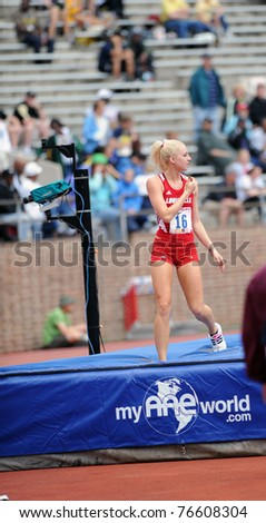 PHILADELPHIA - APRIL 28: The University Of Louisville's Megan Schubert walks off the mat after completing an attempt at the high jump at the 117th Penn Relays April 28, 2011 in Philadelphia.