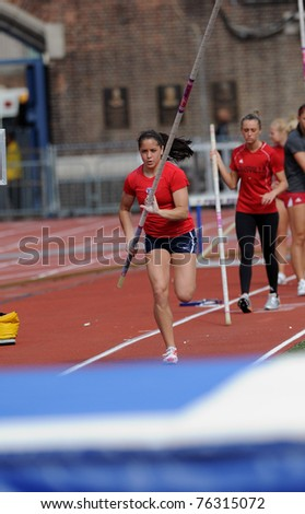 PHILADELPHIA - APRIL 28: Unnamed Penn ladies pole vaulter goes for a practice session prior to the competition at the 177th Penn Relays on April 28, 2011 in Philadelphia.