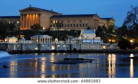 Philadelphia Art Museum and Fairmount Water Works at Dusk