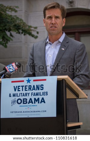 PHILADELPHIA - AUGUST 22: Delaware State Attorney General Beau Biden, discusses how the Romney-Ryan budget plan would be disastrous for Americans on August 22, 2012 in Philadelphia.