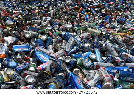 PHILADELPHIA - CIRCA 2008: Aluminum cans lie in a heap at an undisclosed recycling facility circa 2008 in Philadelphia. The cans will be compressed and baled.