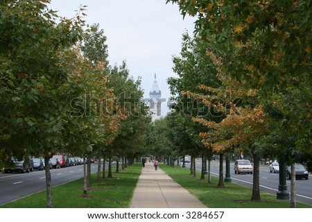 Philadelphia city hall and trees of Benjamin Franklin Parkway