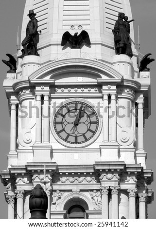Philadelphia City Hall Clock Tower in black and white