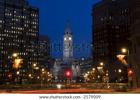 Philadelphia downtown and city hall with night lights