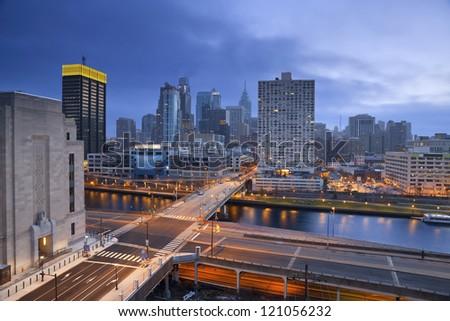 Philadelphia. Image of Philadelphia skyline and streets of Philadelphia during twilight blue hour.
