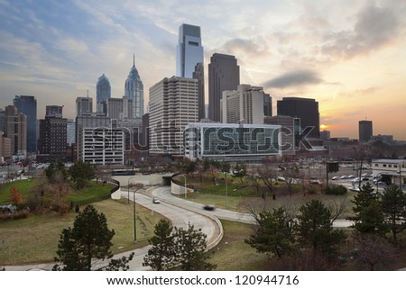 Philadelphia. Image of the Philadelphia skyline at sunset. - stock photo