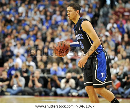 PHILADELPHIA - JANUARY 4: Duke guard Austin Rivers (#0) handles the balll during the NCAA basketball game between Duke and Temple January 4, 2012 in Philadelphia.