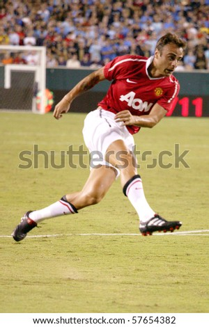 PHILADELPHIA - JULY 21 : Berbatov of Manchester United team anticipating to strike during match against Philadelphia Union on July 21, 2010 in Philadelphia.
