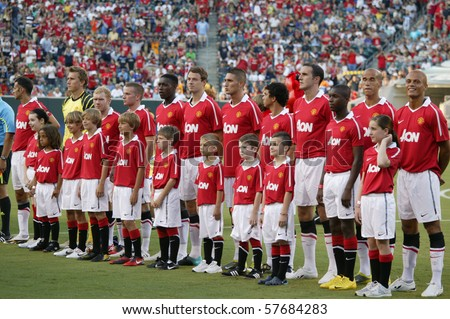 PHILADELPHIA - JULY 21 : Manchester United team line up during match against  Philadelphia Union on July 21, 2010 in Philadelphia.