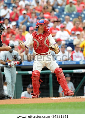 PHILADELPHIA - JULY 26: Philadelphia Phillies catcher Paul Bako prepares to throw the ball during the July 26, 2009 game in Philadelphia.