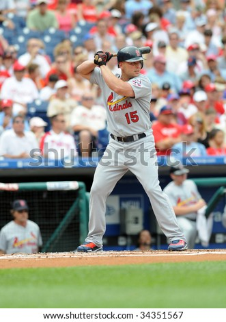 PHILADELPHIA - JULY 26: St. Louis Cardinals outfielder Matt Holliday bats during the July 26, 2009 game in Philadelphia.