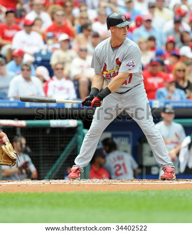 PHILADELPHIA - JULY 26: St. Louis Cardinals outfielder Ryan Ludwick bats during the July 26, 2009 game in Philadelphia.
