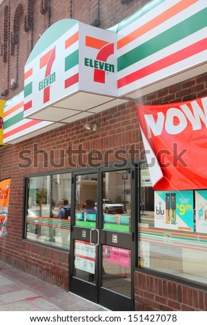 PHILADELPHIA - JUNE 11: 7 Eleven store on June 11, 2013 in Philadelphia. 7-Eleven is world's largest operator, franchisor and licensor of convenience stores, with more than 46,000 shops.