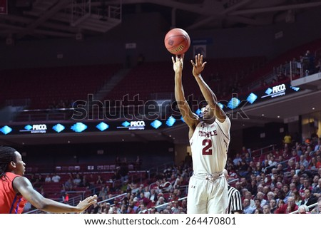 PHILADELPHIA - MARCH 25: Temple Owls guard Will Cummings (2) releases a three point shot during the NIT quarterfinal basketball game March 25, 2015 in Philadelphia.