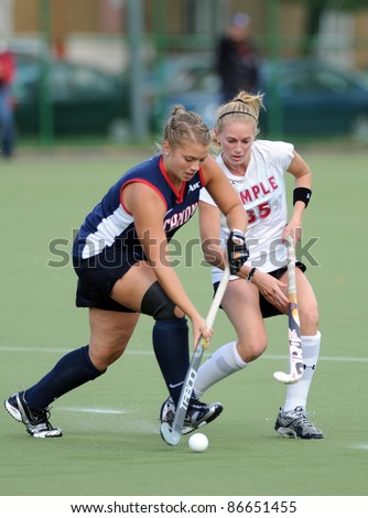 PHILADELPHIA - OCTOBER 14: Temple Field Hockey player Katie Briglia (No. 35) plays defense in the Atlantic 10 conference game against the University of Richmond on October 14, 2011 in Philadelphia, PA.