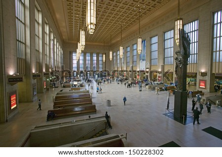 PHILADELPHIA, PA. - CIRCA 2005: Interior view of 30th Street Station, a national Register of Historic Places, AMTRAK Train Station in Philadelphia, PA