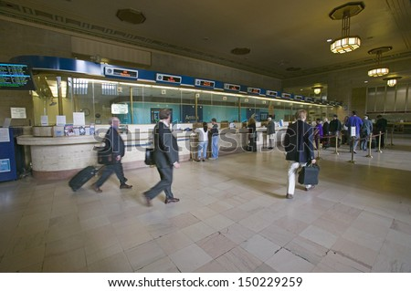 PHILADELPHIA, PA. - CIRCA 2005: Interior view of 30th Street Station and ticket booths, a national Register of Historic Places, AMTRAK Train Station in Philadelphia, PA