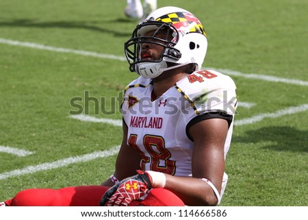PHILADELPHIA, PA. - SEPTEMBER 8: Maryland defensive back Eric Franklin reacts to a pass interference call against Temple on September 8, 2012 at Lincoln Financial Field in Philadelphia, PA.