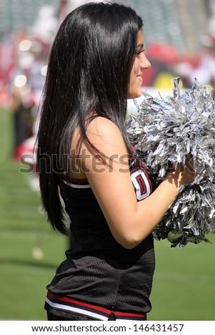 PHILADELPHIA, PA. - SEPTEMBER 8: Temple cheerleader during a game  against Maryland on September 8, 2012 at Lincoln Financial Field in Philadelphia, PA.
