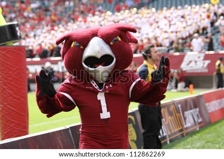 PHILADELPHIA, PA. - SEPTEMBER 8: Temple mascot, the Owl entertains during a game against Maryland September 8, 2012 at Lincoln Financial Field in Philadelphia, PA.