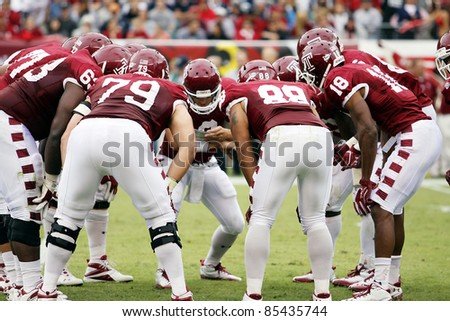 PHILADELPHIA, PA. - SEPTEMBER 17: Temple Quarterback Mike Gerardi calls a play in the huddle against Penn State during a game on September 17, 2011 at Lincoln Financial Field in Philadelphia, PA.