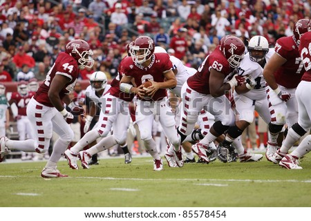 PHILADELPHIA, PA. - SEPTEMBER 17: Temple Quarterback Mike Gerardi gets ready to hand-off during a game against Penn State on September 17, 2011 at Lincoln Financial Field in Philadelphia, PA.