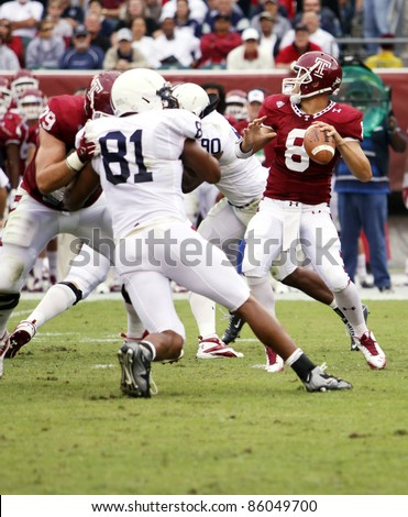 PHILADELPHIA, PA. - SEPTEMBER 17: Temple Quarterback Mike Gerardi passes under pressure during a game against Penn State on September 17, 2011 at Lincoln Financial Field in Philadelphia, PA.