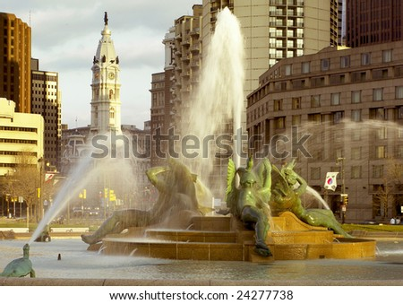 Philadelphia, PA Swann Fountain and City Hall.