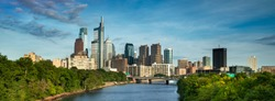Philadelphia panorama cityscape downtown urban core skyscrapers over the Schuylkill River in Pennsylvania USA