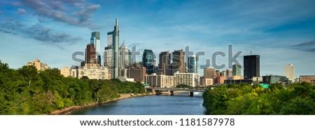 Philadelphia panorama cityscape downtown urban core skyscrapers over the Schuylkill River in Pennsylvania USA #1181587978