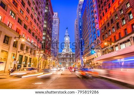 Philadelphia, Pennsylvania, USA cityscape on Broad Street with City Hall. #795819286