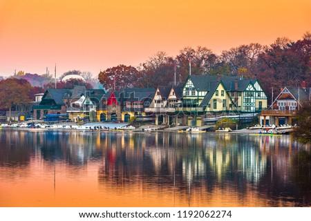 Philadelphia, Pennsylvania, USA dawn on the Schuylkill River at Boathouse Row.