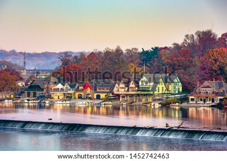 Philadelphia, Pennsylvania, USA dawn on the Schuylkill River at Boathouse Row. #1452742463