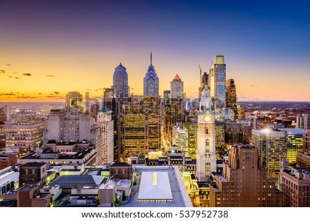 Philadelphia, Pennsylvania, USA downtown city skyline at dusk.