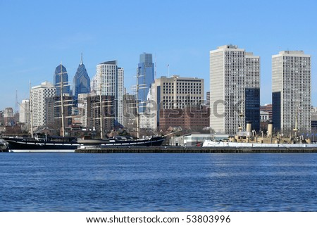 Philadelphia's scenic riverfront on a bright sunny morning.
