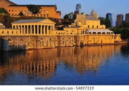 Philadelphia schuykill river waterworks and skyline - stock photo