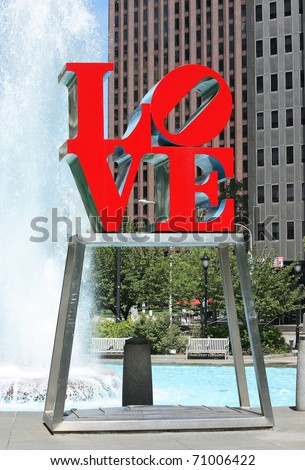 PHILADELPHIA - SEPT 30: The popular Love Park named after the Love statue September 30, 2010 in Philadelphia, Pennsylvania. The now famous Love sculpture, designed by Robert Indiana, was first placed in the plaza in 1976 as part of the United States' Bice - stock photo