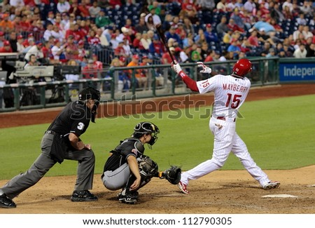 PHILADELPHIA - SEPTEMBER 10th :  John Mayberry of the Philadelphia Phillies bats against the Miami Marlins at Citizens Bank Park on September 10th 2012 in Philadelphia