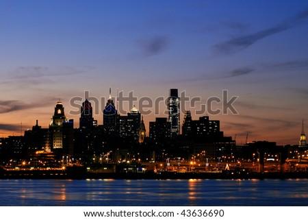 Philadelphia skyline and Penn's Landing, shown at twilight