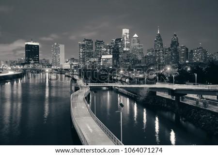 Philadelphia skyline at night with urban architecture. #1064071274