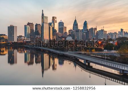 Philadelphia skyline at sunrise #1258832956
