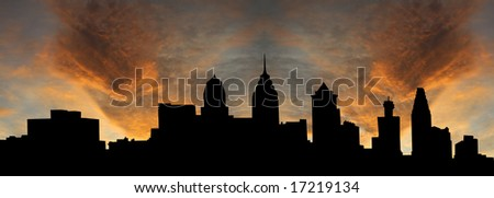 Philadelphia skyline at sunset with beautiful sky illustration - stock photo