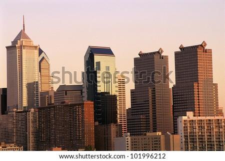 Philadelphia skyline in fading light